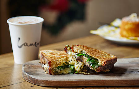 Camden Market food - Lantana coffee and grilled cheese toastie