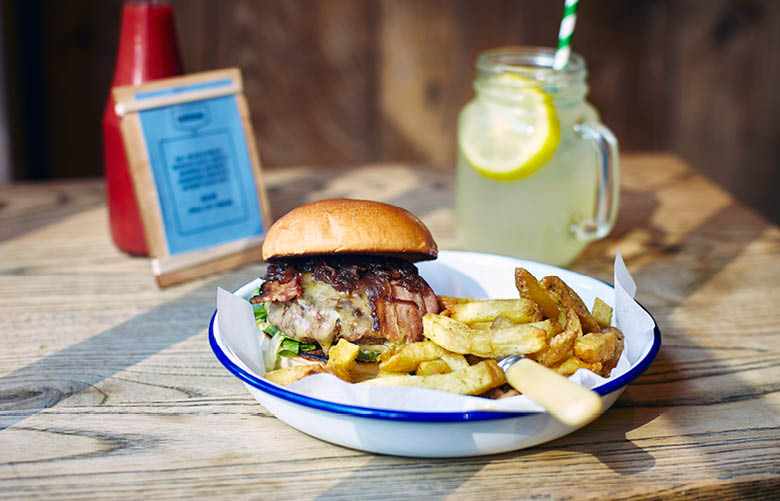 Camden Market food - Honest Burgers beef burger and chips with lemonade