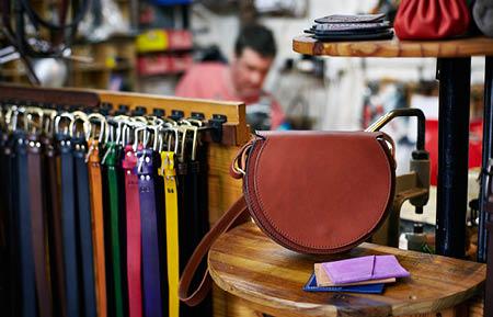 Camden Market shops - Custom Leather satchel