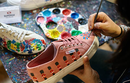 Camden Market fashion - Superga trainers being hand painted